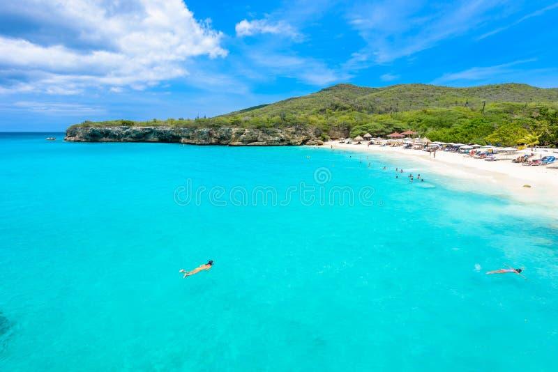 Пляж Grote Knip, Curacao, Нидерландские Антильские острова - пляж рая стоковые фото