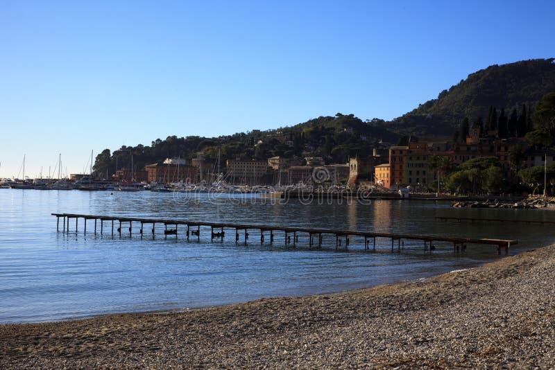 Пляж Ligure margherita Санта и гавань, Genova, Лигурия, Италия, Европа стоковые фото