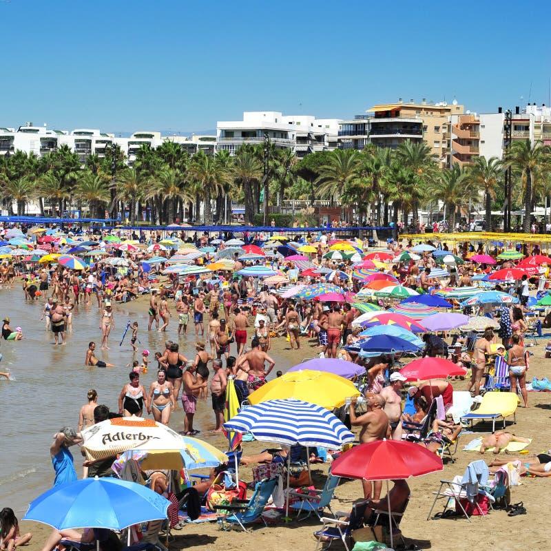 Пляж Llevant, в Salou, Испания стоковые изображения rf