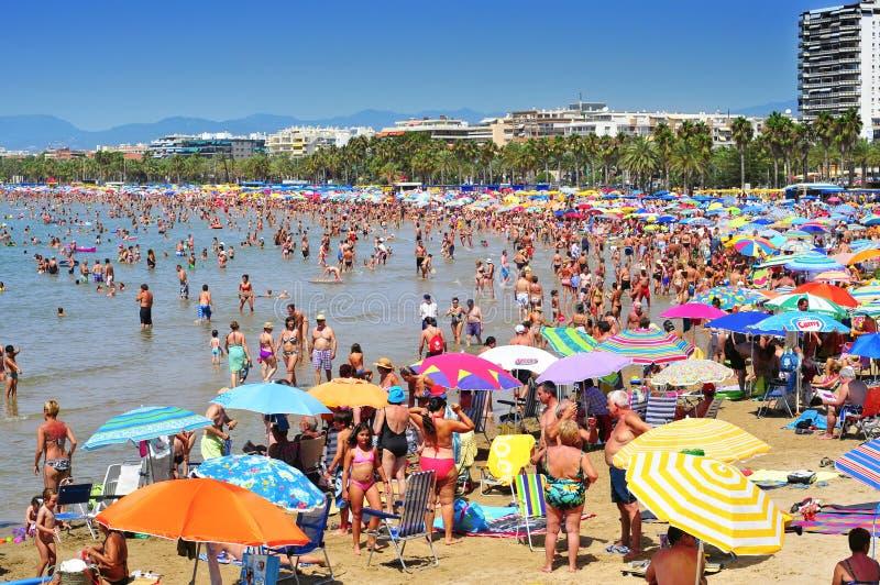 Пляж Llevant, в Salou, Испания стоковое фото rf