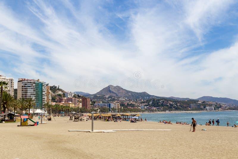 Пляж Malagueta в Малага, Испании стоковое изображение