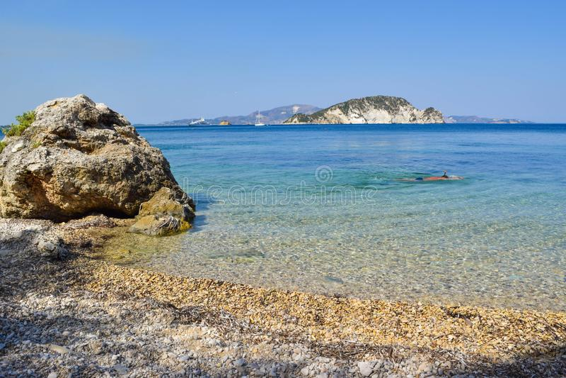 Пляж Marathias, остров Закинфа, Греция стоковые фото