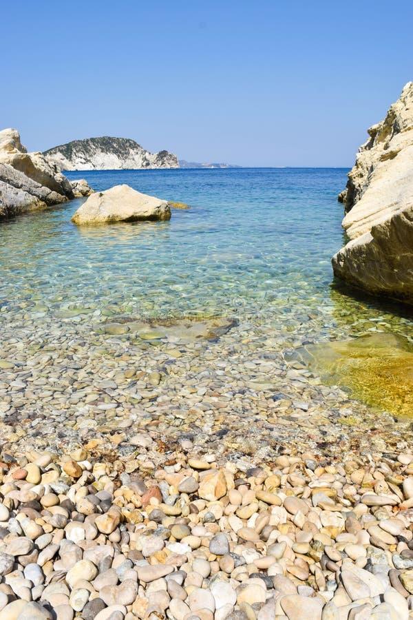 Пляж Marathias, остров Закинфа, Греция стоковое фото