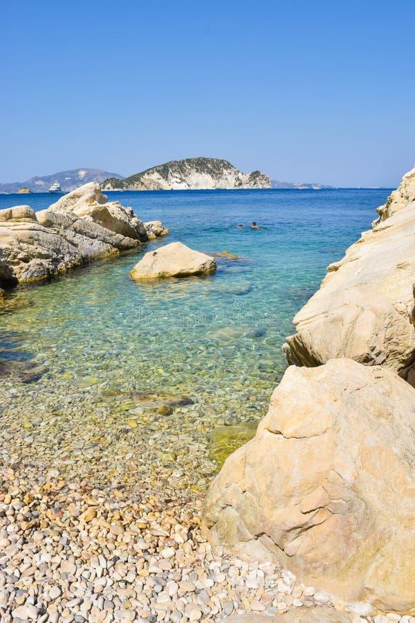 Пляж Marathias, остров Закинфа, Греция стоковая фотография