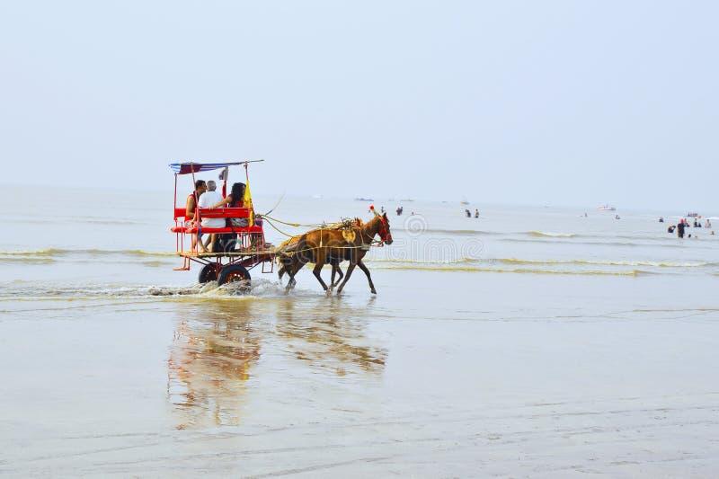 ПЛЯЖ NAGAON, МАХАРАСТРА, ИНДИЯ 13-ОЕ ЯНВАРЯ 2018 Туристы наслаждаются ездой тележки лошади стоковые фото