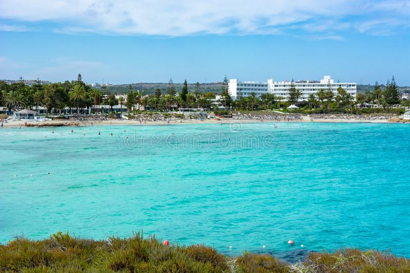Пляж Nissi в Agia Napa, Кипре стоковые фото