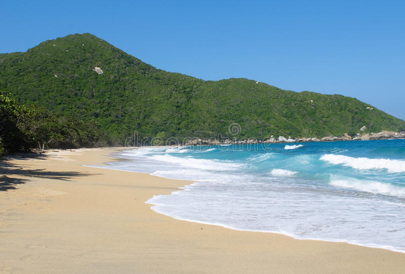 Пляж Nudist, национальный парк Tayrona, Колумбия стоковые фото