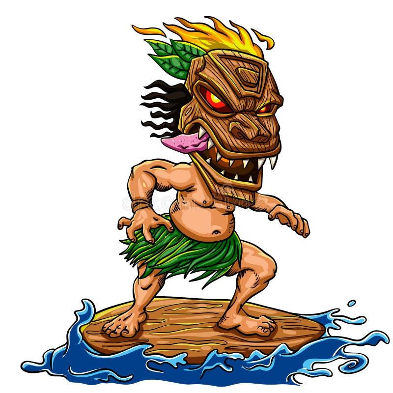Пляж Tiki занимаясь серфингом бесплатная иллюстрация