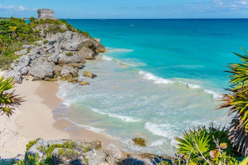 Пляж Tulum в Мексике Америке стоковое изображение rf