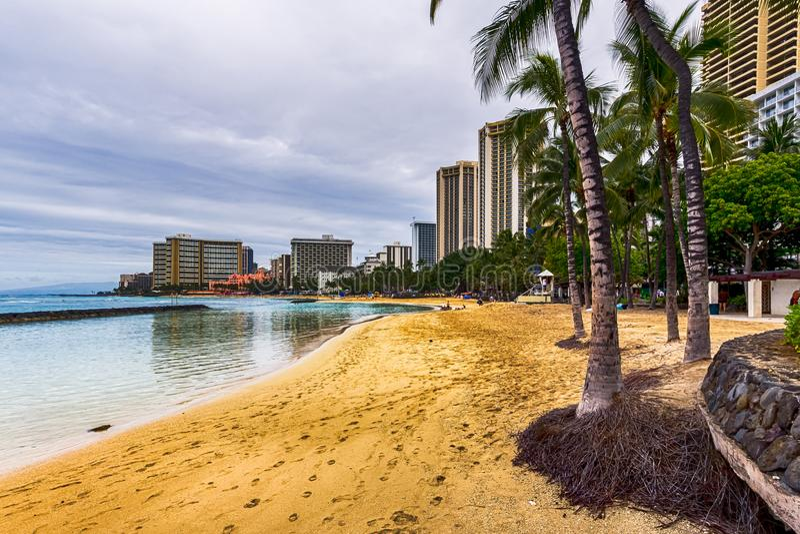 Пляж Waikiki на утре стоковая фотография rf