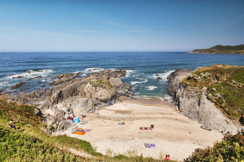 Пляж Woolacombe Девона Великобритании Barricane стоковое изображение rf