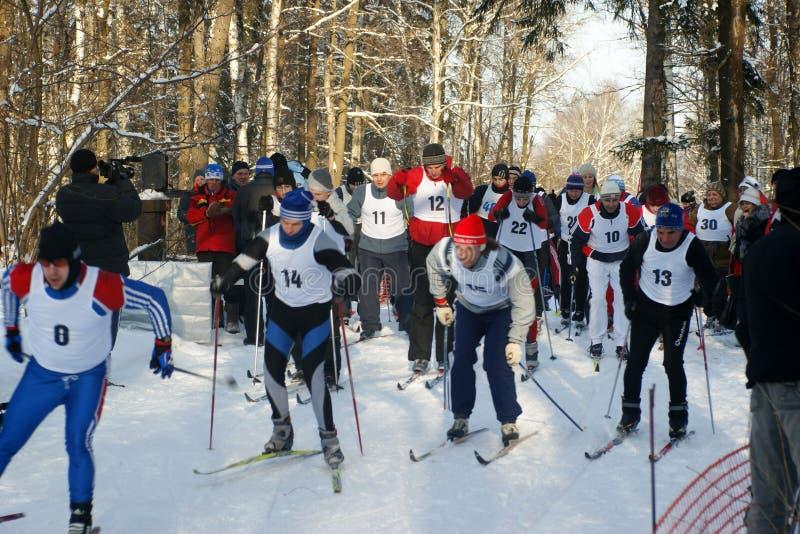 побегите спортсмены лыж Редакционное Фотография