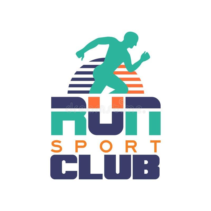 Побегите шаблон логотипа спортивного клуба, emblem с абстрактным идущим силуэтом человека, ярлыком для спортклуба, турниром спорт иллюстрация вектора