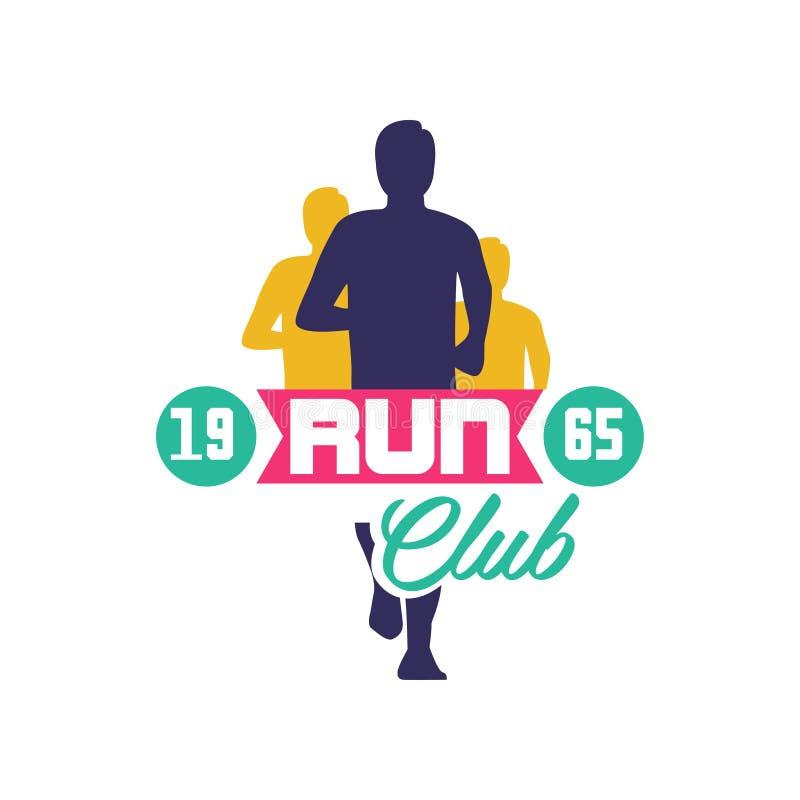 Побегите estd 1965 логотипа клуба, emblem с абстрактными идущими силуэтами людей, ярлыком для спортклуба, турниром спорта иллюстрация штока
