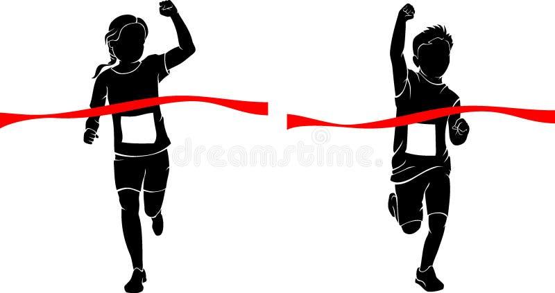 Победители бега детей в вид спереди бесплатная иллюстрация