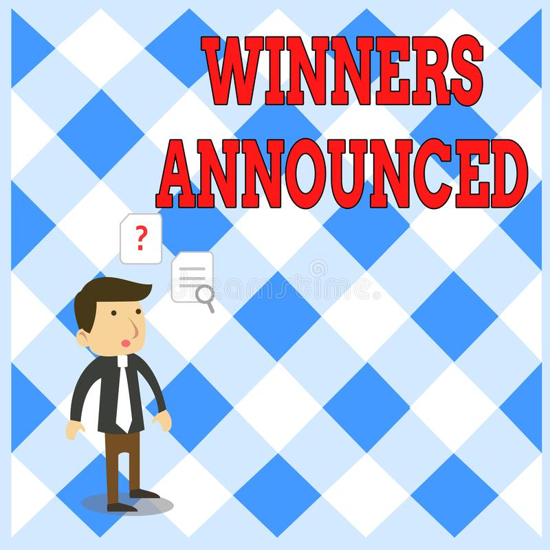 Победители сочинительства текста почерка объявили Концепция знача объявлять который выиграл состязание или любой мужчину детеныше иллюстрация штока