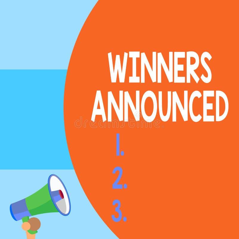 Победители сочинительства текста почерка объявили Смысл концепции объявляя который выиграл состязание или любую часть конкуренции иллюстрация вектора