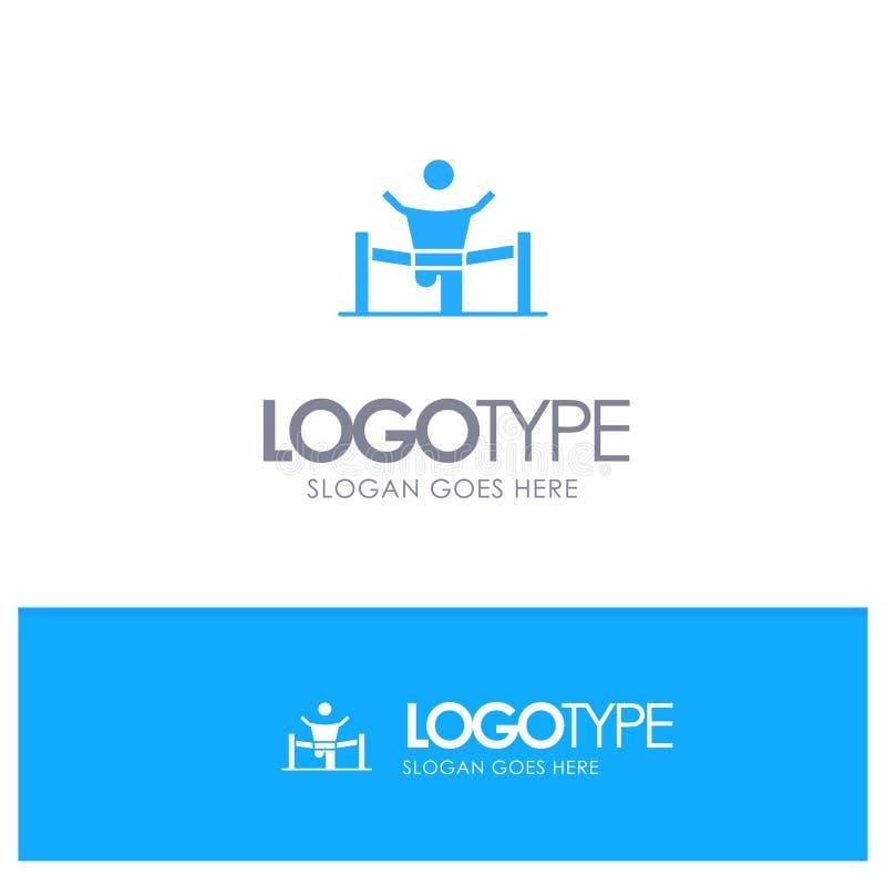 Победитель, дело, финиш, руководитель, руководство, человек, логотип гонки голубой твердый с местом для слогана иллюстрация вектора