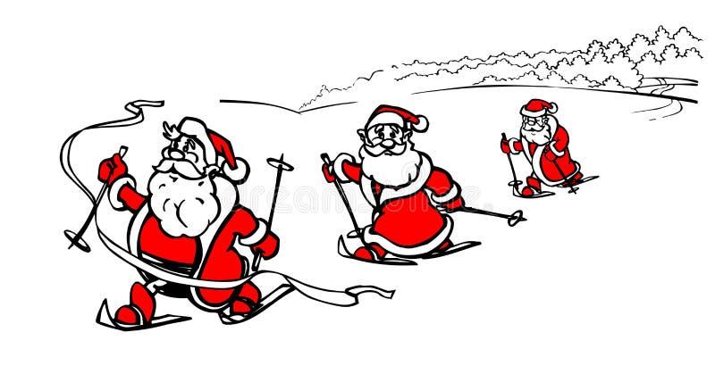 Победитель Санта Клауса шаржа катаясь на лыжах, гонка лыжи по пересеченной местностей, конкуренты зимы беговых лыж, иллюстрация в бесплатная иллюстрация
