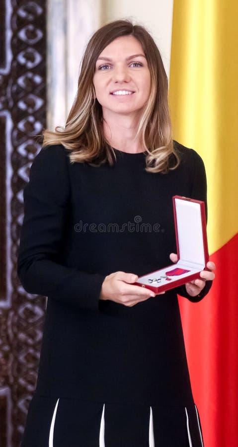 Победитель Simona Halep Уимблдон - награженное со звездой Румынии стоковое фото