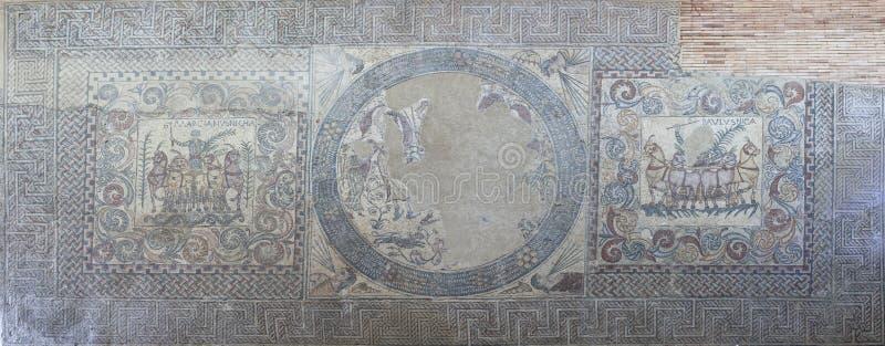 Победоносная мозаика Charioteers, Мерида, Испания стоковое фото rf