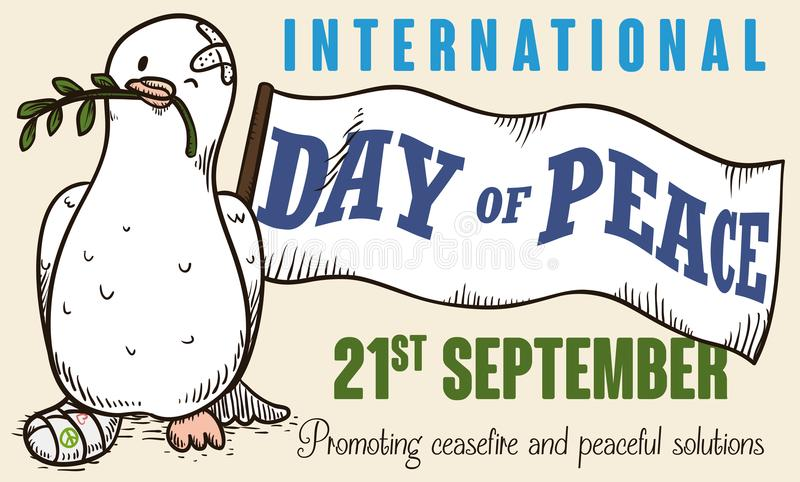 Победоносный голубь мира над войной на международный день мира, иллюстрации вектора бесплатная иллюстрация
