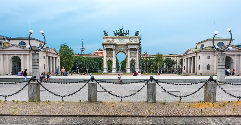 Побежка della Arco или Porta Sempione стоковое изображение