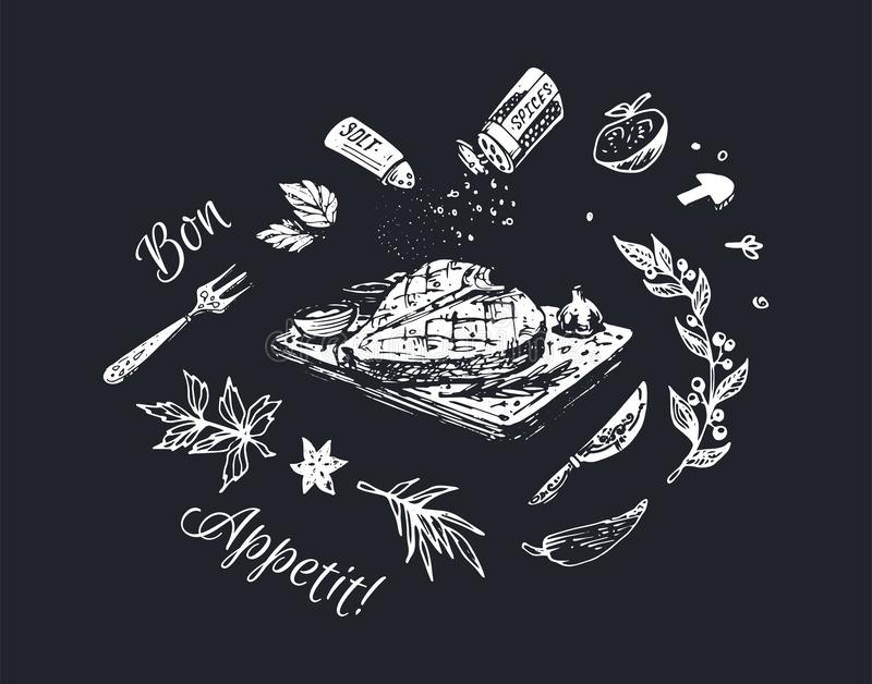 Побелите вычерченный дизайн мелом плаката еды Предпосылка вектора иллюстрация штока