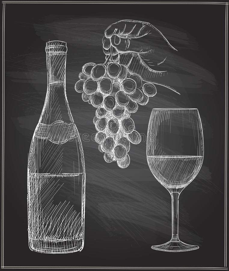 Побелите иллюстрацию мелом руки человека держа связку винограда, бокал вина и бутылка вина иллюстрация вектора