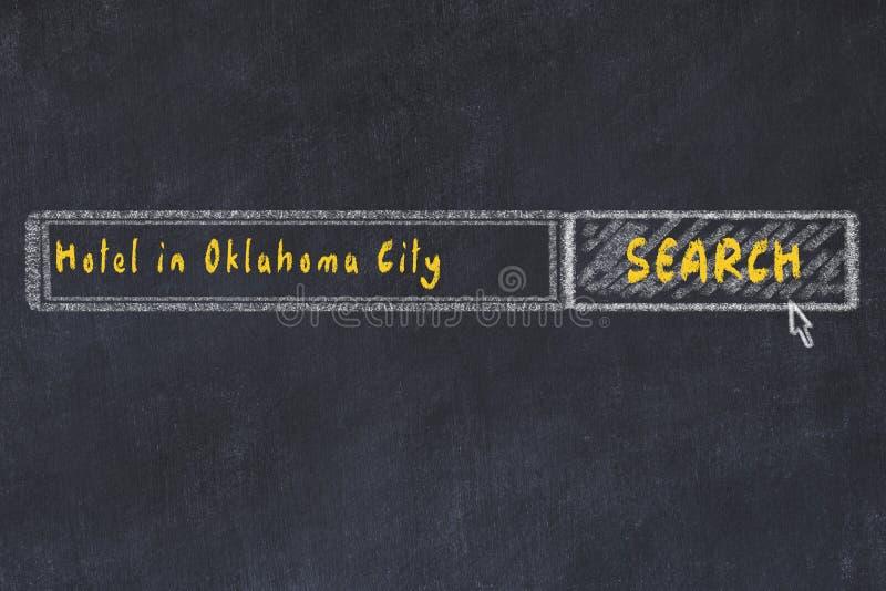 Побелите эскиз мелом поисковой системы Концепция искать и записывать гостиницу в Оклахома-Сити иллюстрация вектора