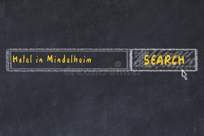Побелите эскиз мелом поисковой системы Концепция искать и записывать гостиницу в Mindelheim иллюстрация вектора