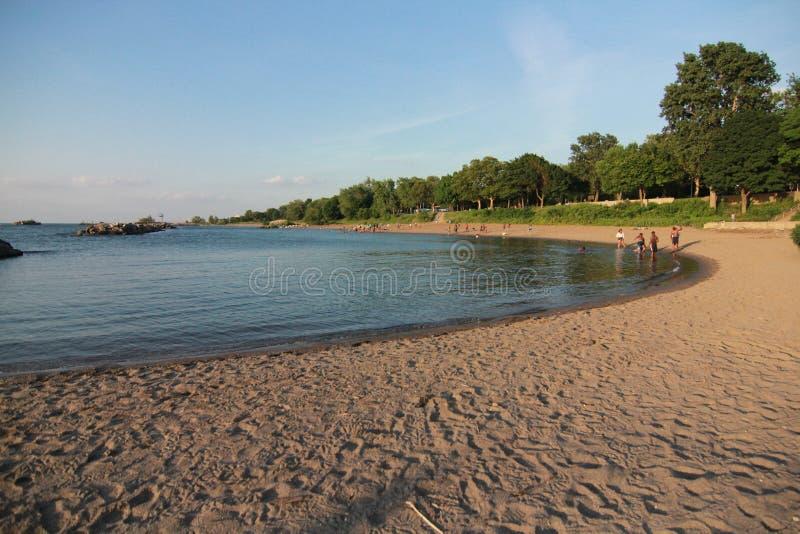Побережье Кливленда Lake Erie в Северной Америке стоковые изображения rf
