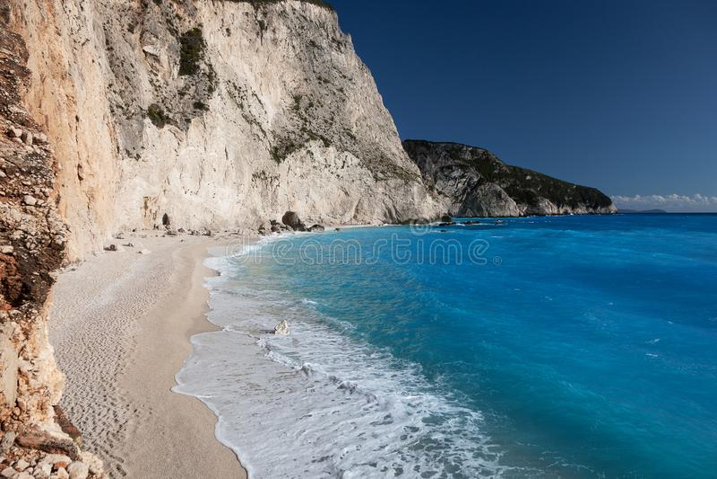 Побережье пляжа Порту Katsiki на острове лефкас, Греции стоковая фотография