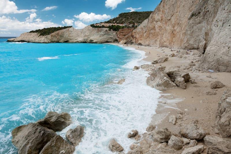 Побережье пляжа Порту Katsiki на острове лефкас, Греции стоковая фотография rf