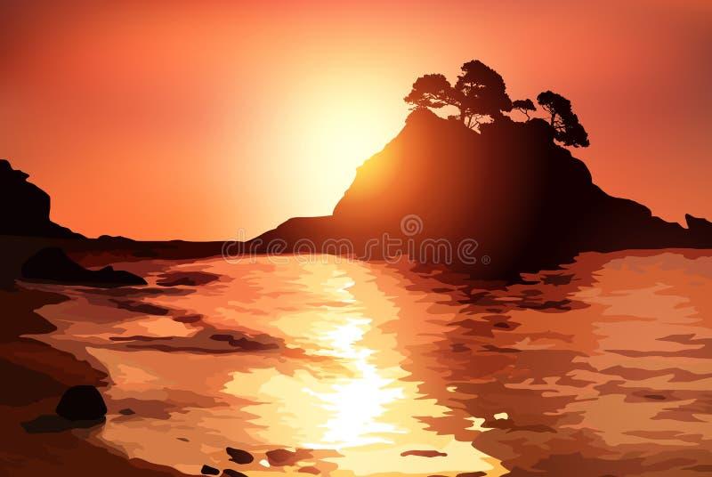 Побережье с островом иллюстрация штока