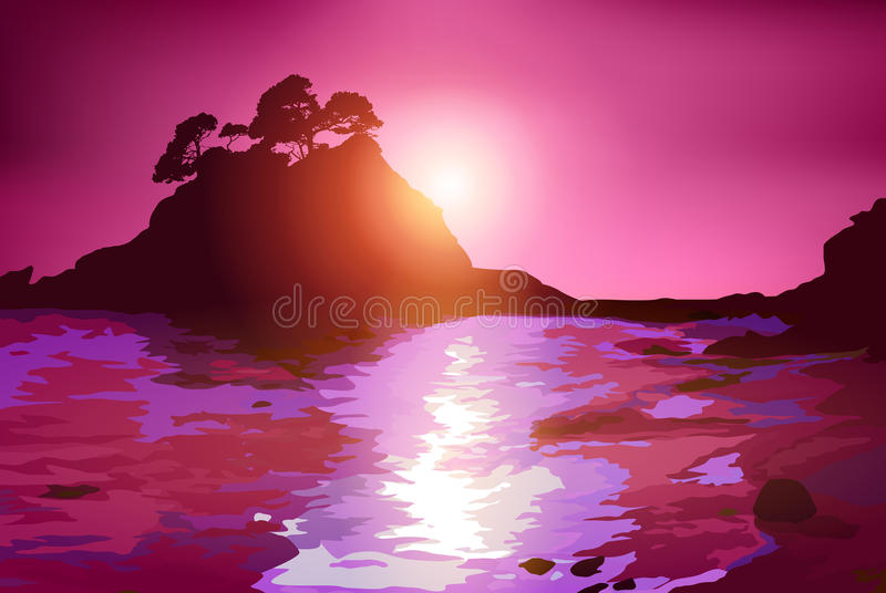 Побережье с островом иллюстрация вектора