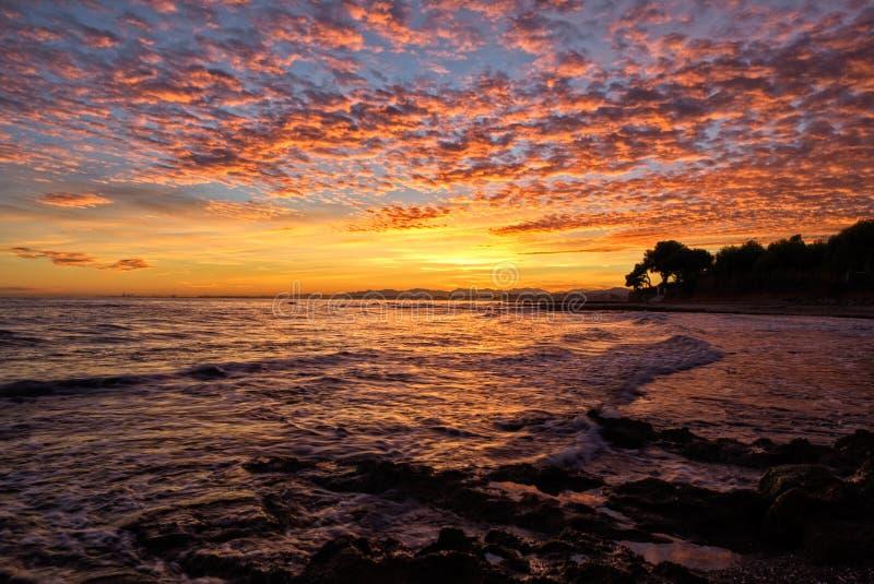 Побережье Oropesa Del Mar на восходе солнца стоковые фото