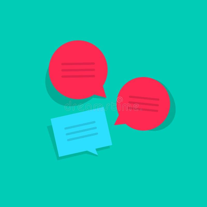 Побеседуйте онлайн иллюстрация вектора, беседуя сообщения группового обсуждения, беседа интернета иллюстрация вектора