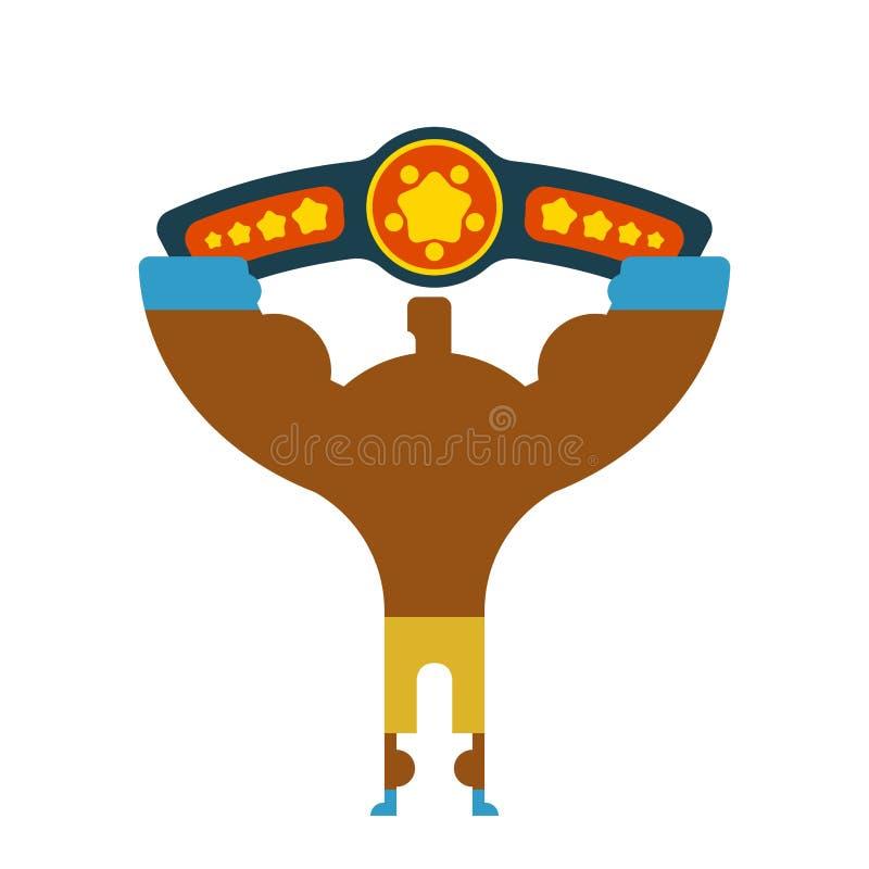 Победитель боксера чемпиона вручает вверх Выигрывая турнир чемпионат иллюстрация вектора