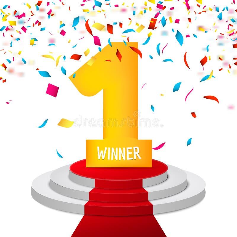 Победитель, одну предпосылку confetti Символ призовой награды triphy Победа и концепция успеха Знак чемпиона бесплатная иллюстрация