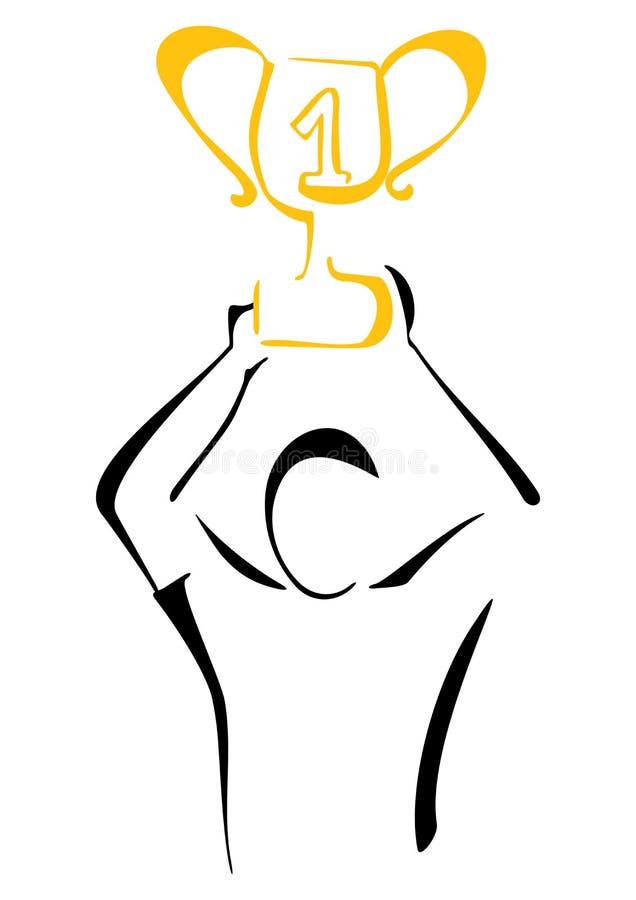Победитель с трофеем иллюстрация штока