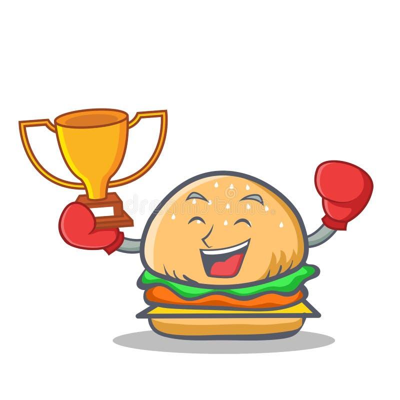 Победитель фаст-фуда характера бургера бокса иллюстрация вектора