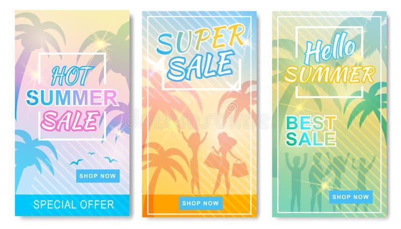 Побитый набор рассказов горячих супер продаж лета социальный иллюстрация штока