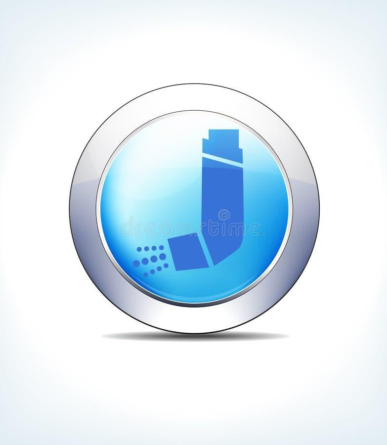 Побледнейте - голубой ингалятор кнопки, астма, здравоохранение & фармацевтический Ic иллюстрация вектора