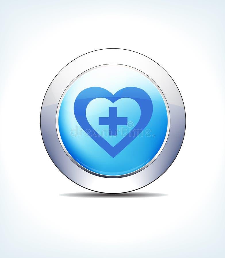 Побледнейте - голубой Харт кнопки значка плюс символ иллюстрация вектора