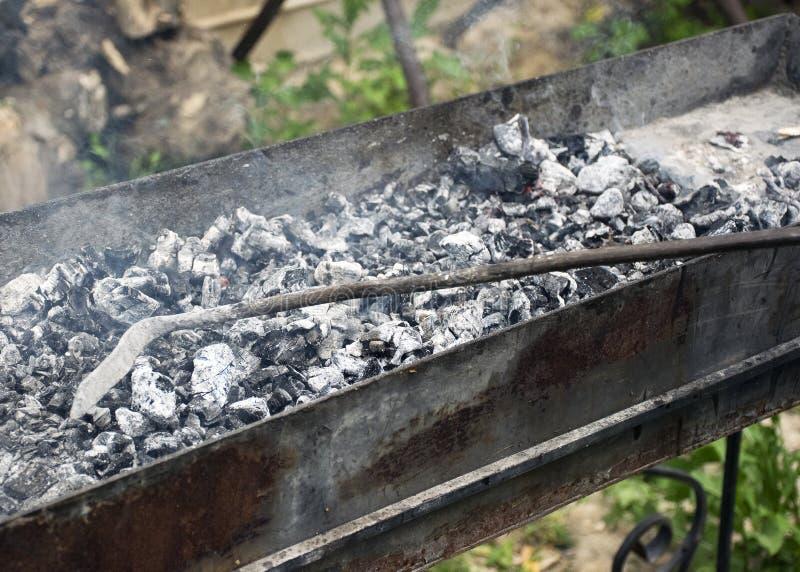Повара мяса на горячих углях в дыме Пикник в природе стоковое фото rf