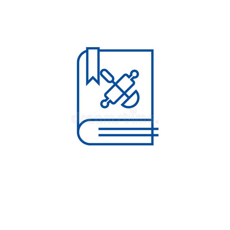 Поваренная книга, линия концепция книги рецепта значка Поваренная книга, символ вектора книги рецепта плоский, знак, иллюстрация  иллюстрация вектора