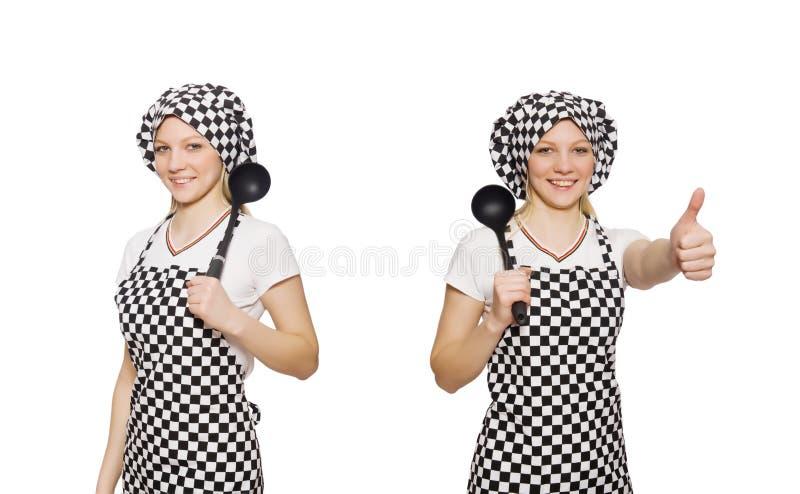 Повар женщины изолированный на белой предпосылке стоковое изображение rf