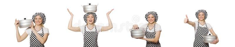 Повар женщины изолированный на белой предпосылке стоковая фотография