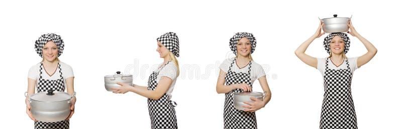 Повар женщины изолированный на белой предпосылке стоковые изображения